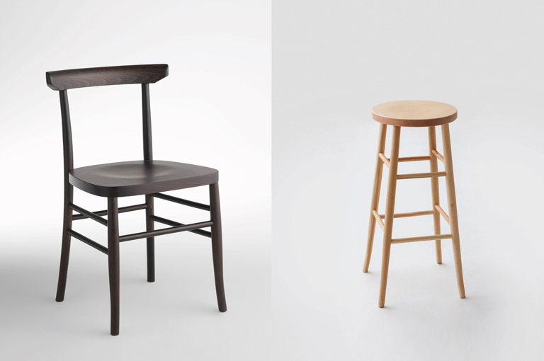 LightsOn wooden stools and designer chairs